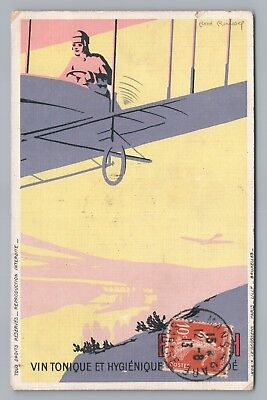 Byrrh Wine—Art Nouveau Advertising—Early AVIATION Biplane—ReneRoussef Artist '13