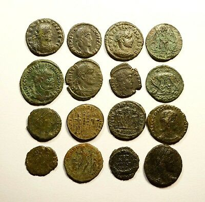 Lot Of 16 Imperial Roman Bronze Coins For Identifying - 11
