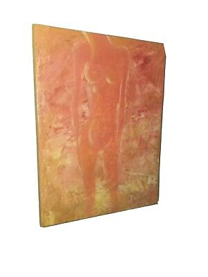 Original Pink red Nude painting Abstract Girl Woman art picture model pose