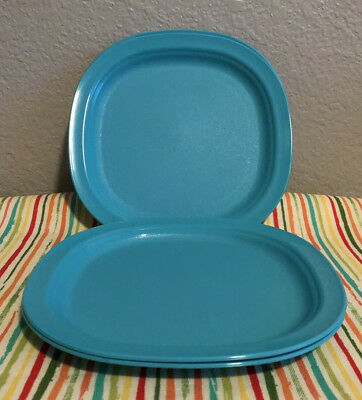 "Tupperware Microwave Reheat-able Luncheon Plates Aqua 7 3/4"" Set of 4 New"
