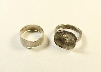 Lot Of 2 Ancient Silver Rings - Found With Metal Detector / Cleaned