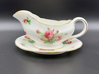Hammersley Grandmother's Rose Gravy Boat And Saucer Set Bone China England