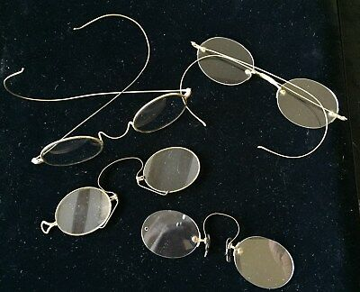 4 PAIR of Antique EYEGLASSES, GOLD Filled RIMS, Rimless, and PINCE NEZ. c.1800's