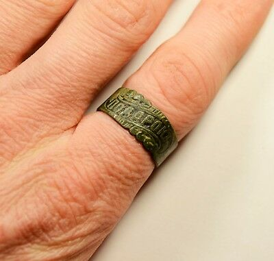 """Late (Post) Medieval Bronze Ring -""""present"""" On Bezel - Wearable Artifact"""
