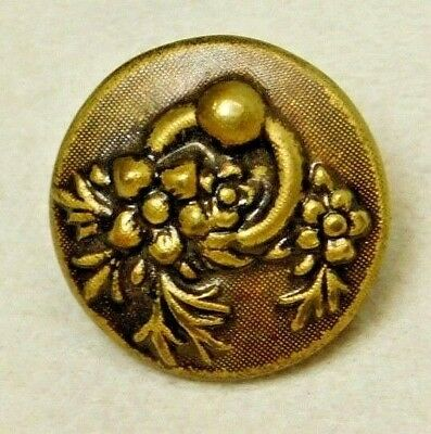 SMALL Antique Vintage Metal Button Victorian Flower Bunch in a Brass RING  D65