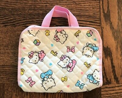 Cute Sanrio Hello Kitty Babies Quilted Travel Pouch Bag with Zipper and Handles