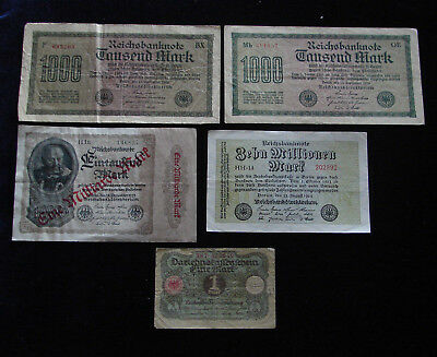 Lot Of Five - 1920 - 1923 German Mark - Bank Note - Red Seal- Free Shipping - D