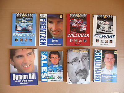 8 Books.  Grand Prix.  Formula One.  Race Drivers.  Mint condition.
