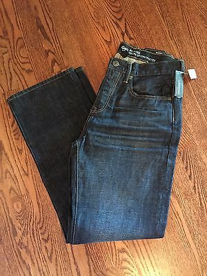NWT Mens Gap Dark Wash Whiskering Relaxed denim jeans 30 x 32 30x32 NEW
