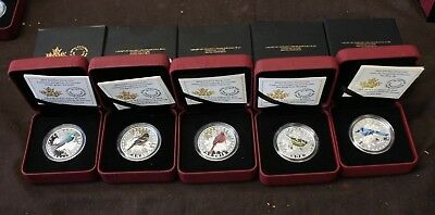 2015 lot $10 Fine silver Colourful Songbirds of Canada complet set