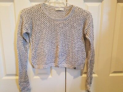 Abercrombie Kids Girls Cropped Heather Grey with Silver Sweater, Size XL