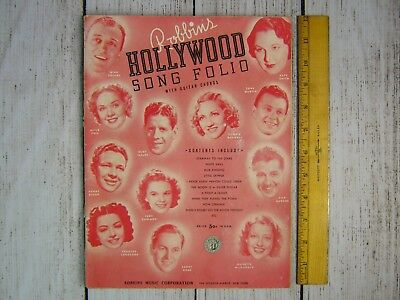 1939 Robbins HOLLYWOOD Song Folio Fox Trot Waltz Softcover With Guitar Chords