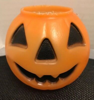 1980 Small Jack-O-Lantern/Pumpkin Blo-Mold Candy Bucket  2.75""