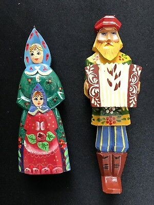 Vintage Wooden Russian Christmas Ornaments Man Mother Child Hand Painted