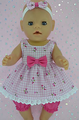 "Play n Wear Doll Clothes For 17"" Baby Born PINK GINGHAM DRESS~BLOOMERS~HEADBAND"