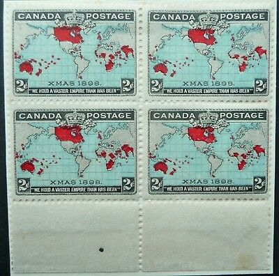 CANADA 1898 XMAS 2c MAP BLOCK OF 4 STAMPS (PL.2) BASE CABLE RETOUCH - MH - SEE!