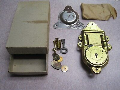 Vintage Nos 1942 Eagle Lock Co Large Brass / Iron Locker Chest Trunk Lock 0B133