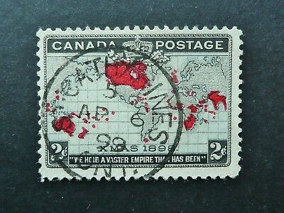 CANADA 1898 XMAS 2c MAP STAMP WITH 1899 ST CATHERINES CANCEL - FINE USED - SEE!