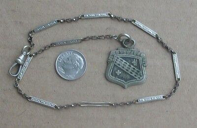 Antique Vintage WATCH CHAIN & BUICK SHIELD FOB