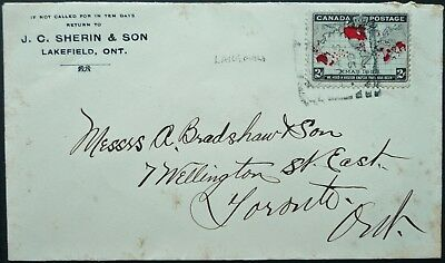 CANADA 5 JAN 1899 COVER WITH 1898 2c XMAS MAP STAMP - LAKEFIELD, ONT TO TORONTO