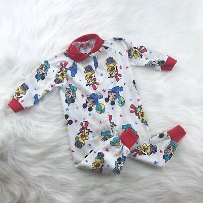 Vintage Disney Babies Mickey Mouse One Piece Pajamas Sleeper Playskool 6-12 mth