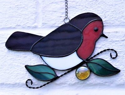 Hand crafted stained glass sun catcher. Robin.