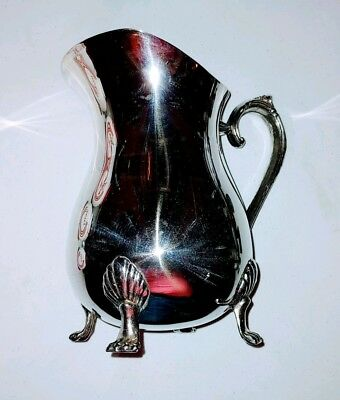 "Vintage LEONARD Silverplate Footed Water Pitcher w/ Ice Lip 8 3/8"" ~ Clean!"