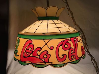 "VINTAGE COCA-COLA TIFFANY STYLE Hanging LIGHT LAMP SHADE 15"" WORKING"