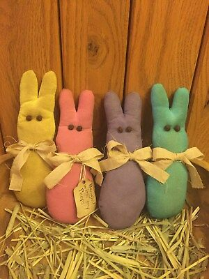 Primitive Peeps Bunnies Bowl Fillers Shelf Sitters Ornies Handmade Set of 4 New