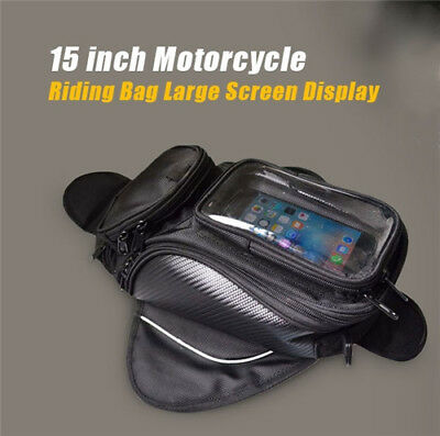 15 Inch Waterproof Motorcycle Tank Bag Oxford Fabric Riding Bag w/ Touch Screen