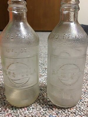 Lot of (2) vintage clear glass 10 fl oz Pepsi-Cola bottles - great condition