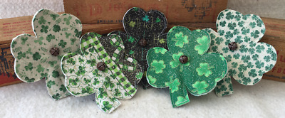 Primitive Mini FLATTIES Shamrocks St Pattys Day Prim Ornies Bowl Fillers Tucks