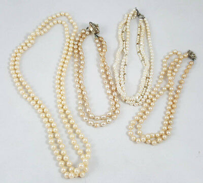 NICE VTG Estate Jewelry Lot of Four (4) Simulated Pearl Necklaces