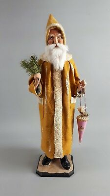 """22""""Paper mache*German Santa*Candy Container*(yellow)by Paul Turner MCM18-12"""