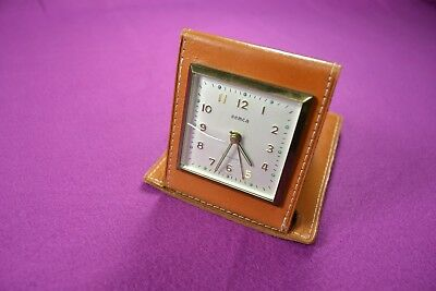 Unique Vintage Semca Clock Co. Germany Windup Alarm Clock Seven Jewels Leather