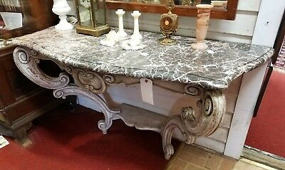 Antique 19C. Italian Painted Console w/ Marble Top Blue French White Cartouche