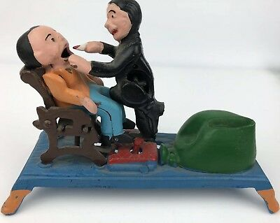 Vintage Cast Iron DENTIST Pulling Patient Tooth Mechanical Coin Bank