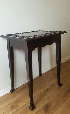 Victorian Dark Oak Lamp/ Side Table.