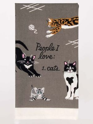 Blue Q Kitchen Novelty Dish Towel, Screen-Printed, People I Love: 1. Cats, Grey