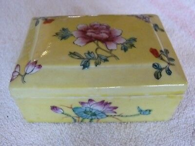Antique Marked Covered Asian Trinket  Box Hand Painted Very Old