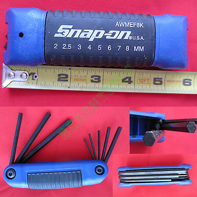 New Snap On Folding Metric Hex Wrench Set with Blue Plastic Handle AWMEF8K