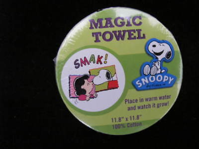 "Peanuts Snoopy & Lucy  Magic Towel 11"" X 11"" Place In Water Warm And It Grows!"