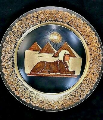 Vintage Egyptian Plate Sphinx Pyramids Decor Wall Hanging Etched Mixed Metal
