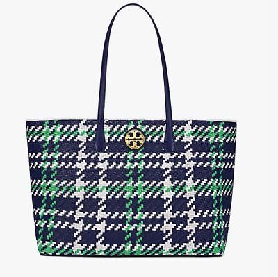 263a88a3419 NWT TORY BURCH Duet Woven Leather Tote - Royal Navy Green Ivory MSRP  595