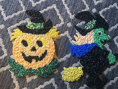 Vintage Melted Popcorn Halloween Decorations - Pumpkin And Witch Lot Of 2