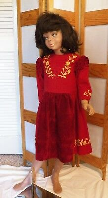 Vintage Child's Crimson Red Dress with Embroidery 1900-1920