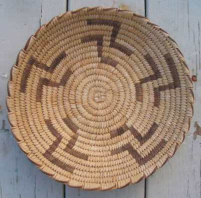 Vintage Papago Tohono O'Odam Native American Indian Basket Lightning Design 12""