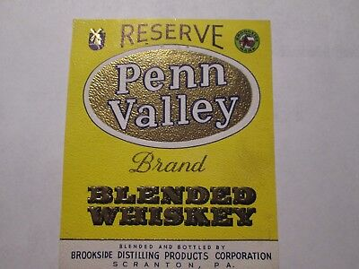 Whiskey Label Penn Valley Brookside Distilling Products Corp. Scranton  Pa