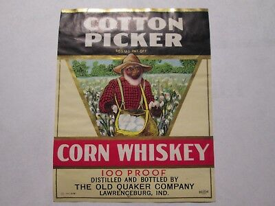 Whiskey Bottle / Crate Label Cotton Picker The Old Quaker Co Lawrenceburg Ind In