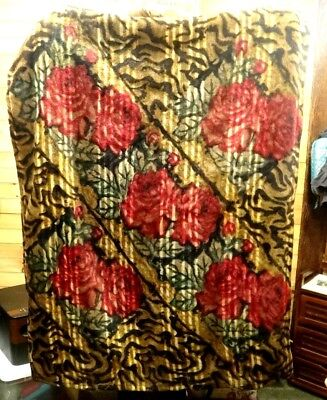 Vintage CHASE Mohair Horsehair Buggy Carriage Lap Sleigh Blanket  ~RED ROSES~